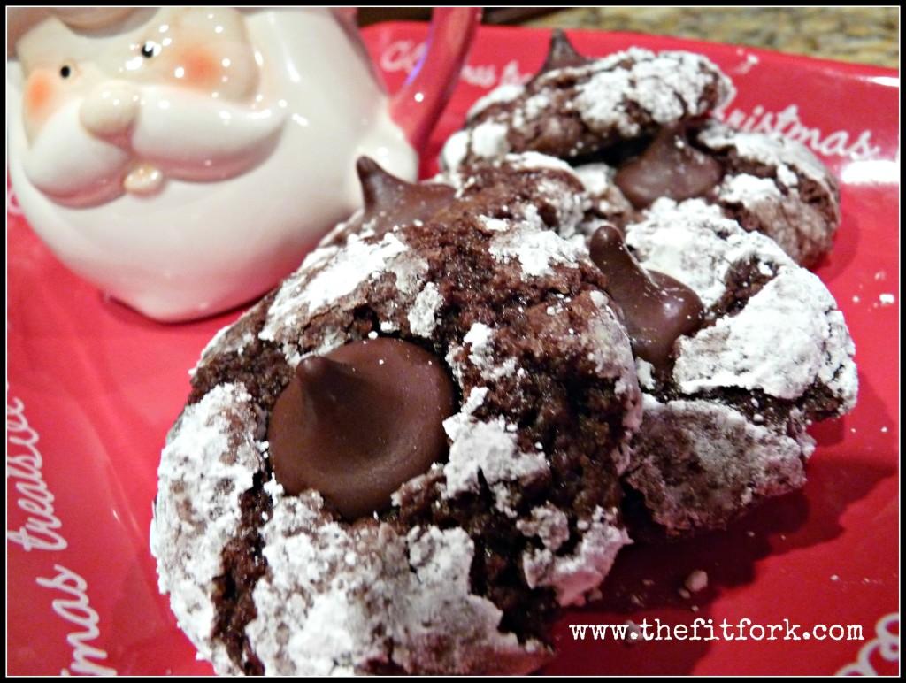 chocolate crinkle cookies kiss cookies thefitfork