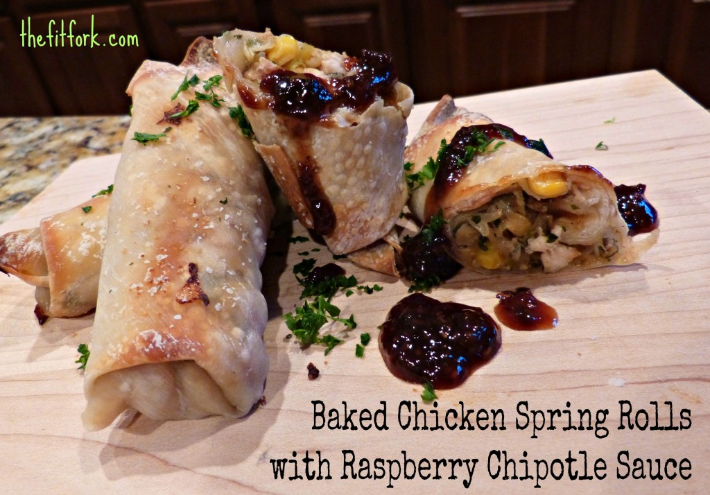 baked chicken spring rolls  raspberry chipotle sauce