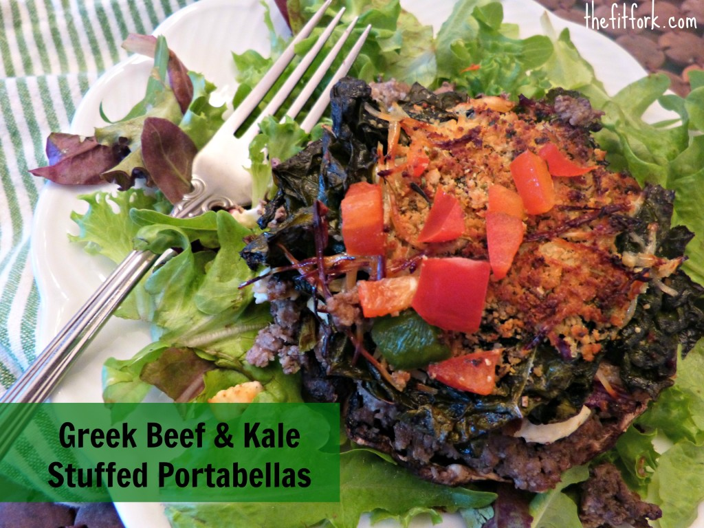 jennifer fisher - thefitfork.com - greek beef kale stuffed portabellas