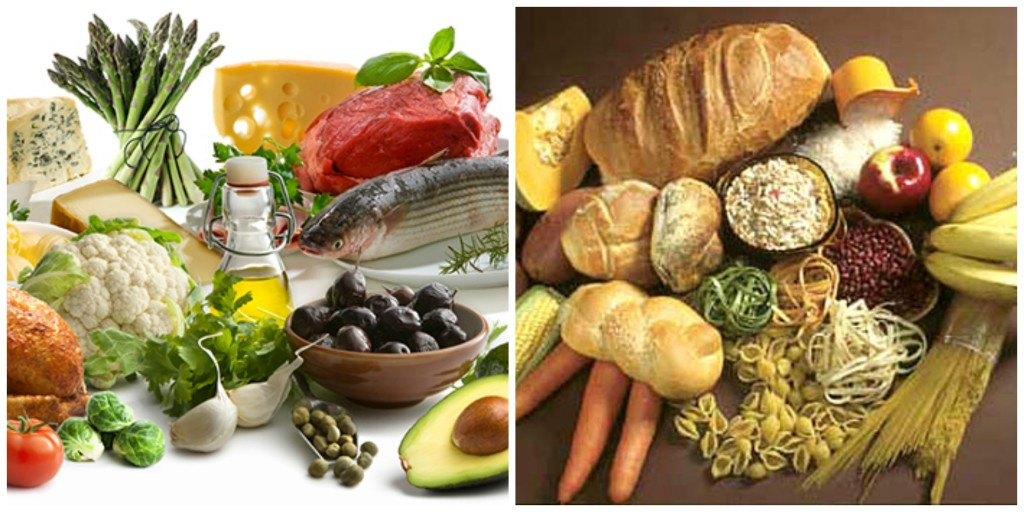 An example diet that includes good fat-loading choices on left. Good carb-loading choices on right.