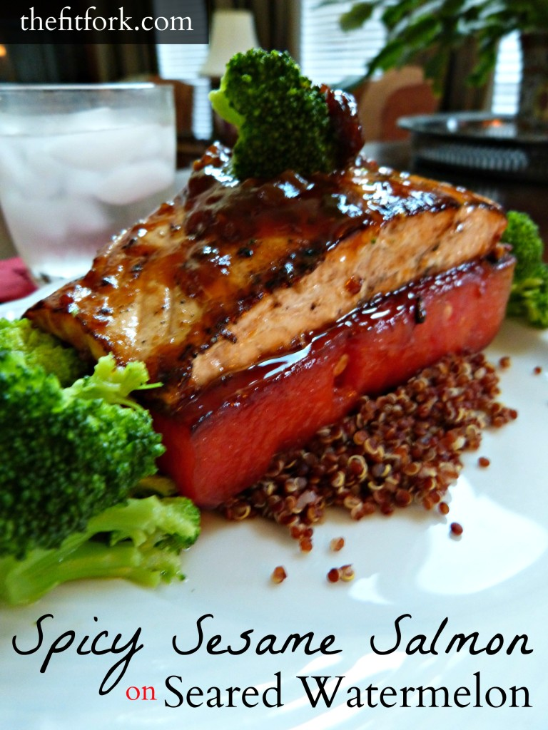 jennifer fisher - thefitfork.com - spicy sesame salmon seared watermelon