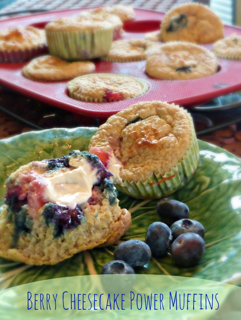 jennifer fisher - thefitfork.com - berry cheesecake power muffins