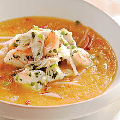 Golden  Peach Soup with Crab and Shrimp Ceviche - from Coolkng Light