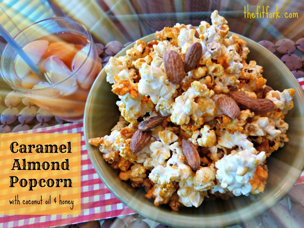 jennifer fisher - thefitfork.com - caramel almond popcorn coconut oil honey