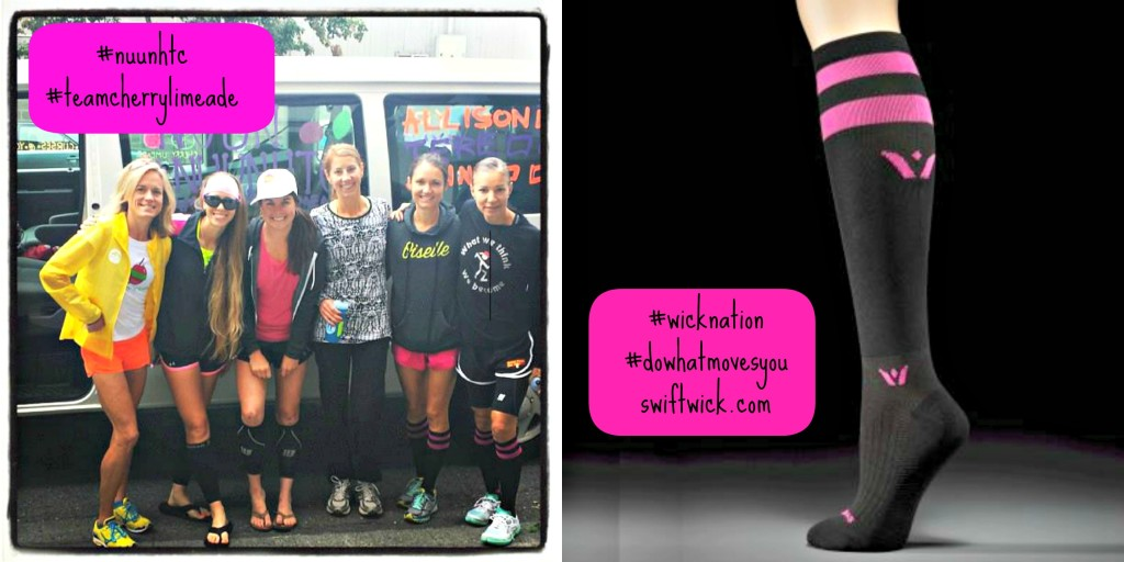 "Some teammates sporting their cute pink-striped ""twelves"" compression socks by Swiftwick. Not wearing mine yet because my first leg wasn't for 12 more hours!"