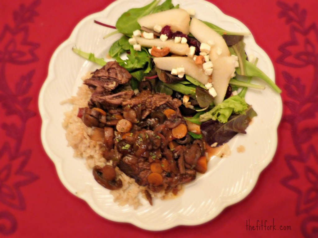 jennifer fisher thefitfork.com pomegranate balsamic pot roast mushrooms