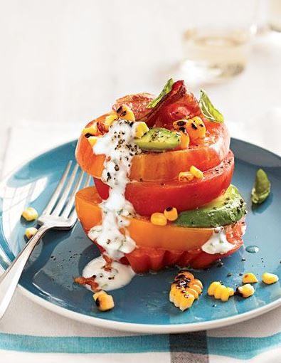 Tomato Stack Salad with Corn and Avocado from Cooking Light Annual Recipes 2013.