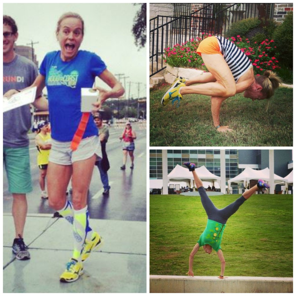 A busy weekend - podium finish at 10 mile race, practicing crow pose & cartwheeling at Prevention Magazine's #R3Summit.