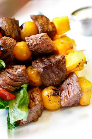 Sirloin Cobb Kebab - Your favorite entree salad on a stick!