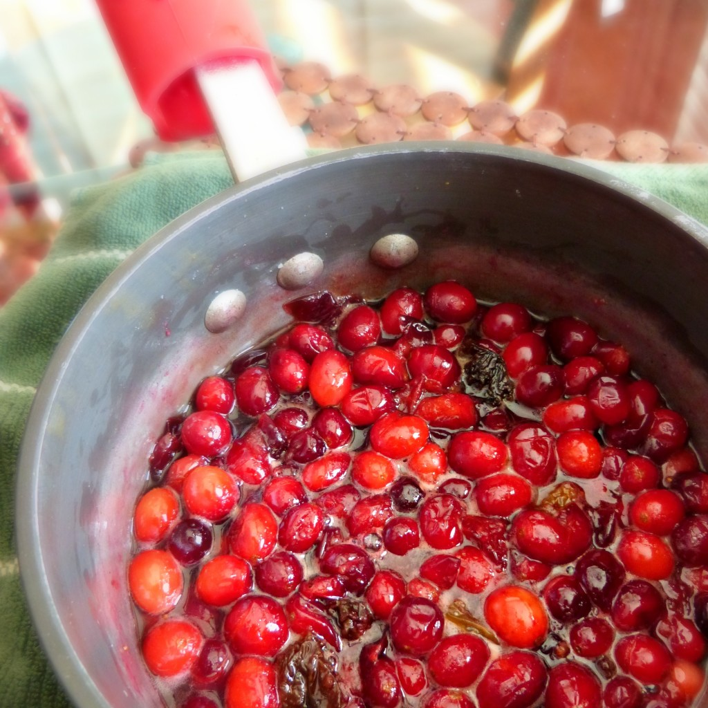 "Fresh cranberries contain a lot of air and will ""pop"" as they cook! It's normal!"