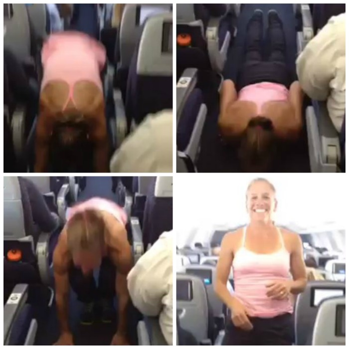 burpees in aisle of plane