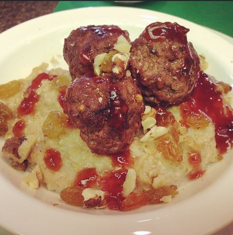 Meatballs and oatmeal for breakfast