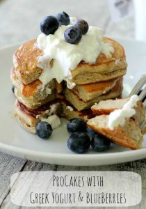 ProCakes wit greek yogurt and blueberries