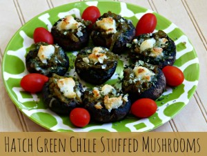 mushrooms stuffed with pepper jack, hatch green chile and kale