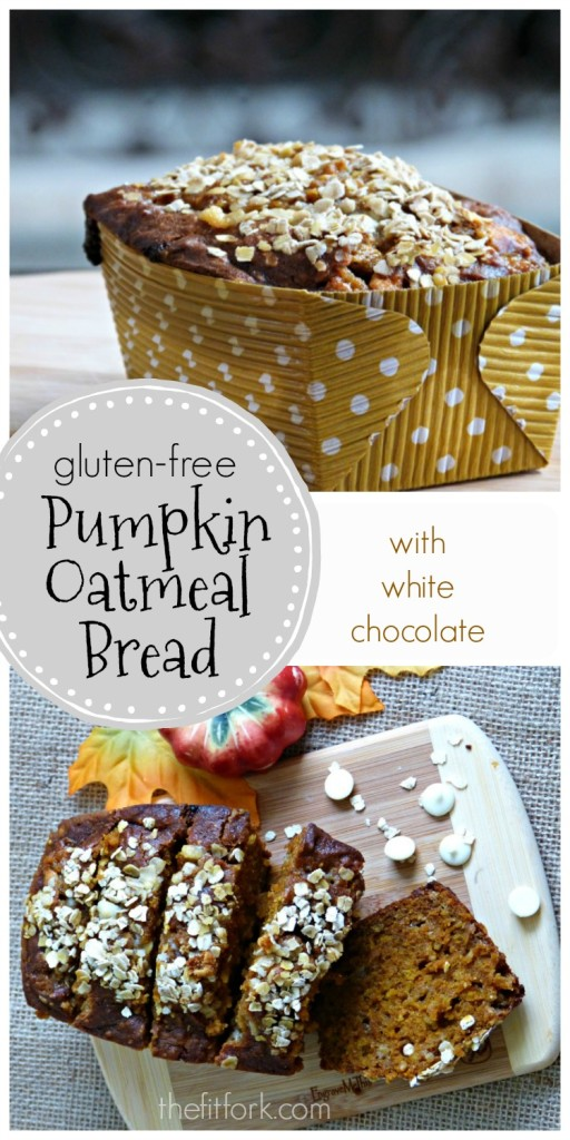 Gluten-free Pumpkin Oatmeal Bread with White chocolate chips is a delicious snack or breakfast -- freezes well too!