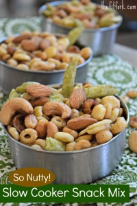 Nut and Cereal party mix made in crock pot