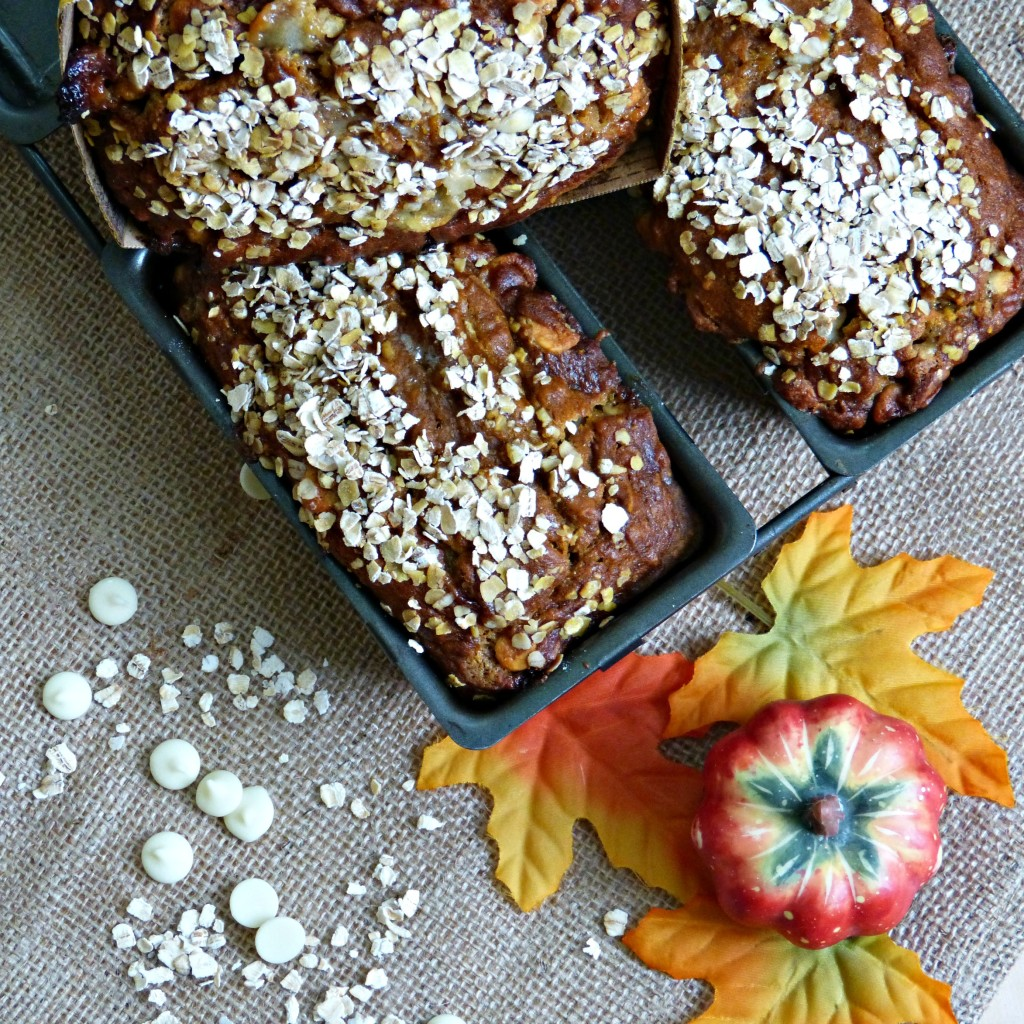 Gluten Free Pumpkin Oat Bread with white chocolate chips