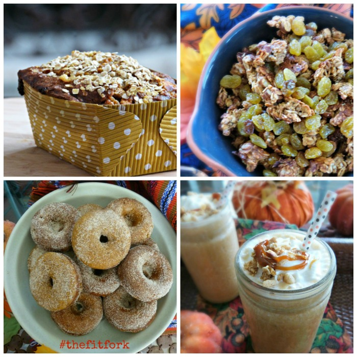 Top Row: White Chocolate Pumpkin  Oat Bread and Pumpkin Granola - Bottom Row: Pumpkin Protein Donuts and Caramel Pumpkin Smoothies