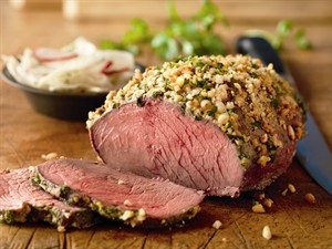 Nut Crusted Beef Roast with Radish Fennel Salad