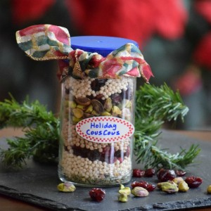 jar of cranberry pistachio couscous mix for gifts