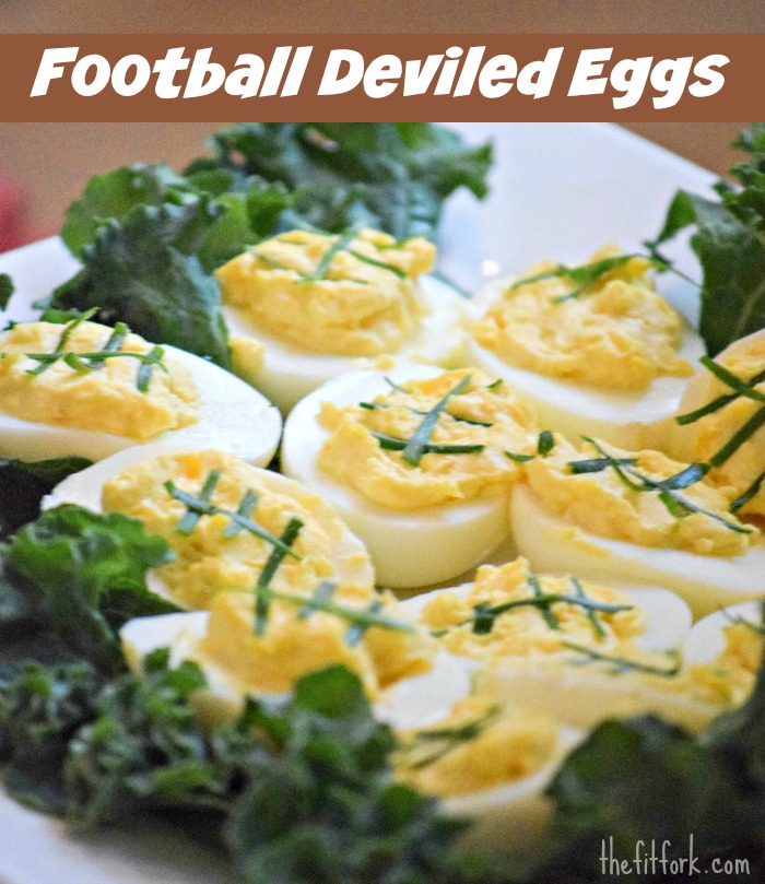 Football Deviled Eggs - TheFitFork.com
