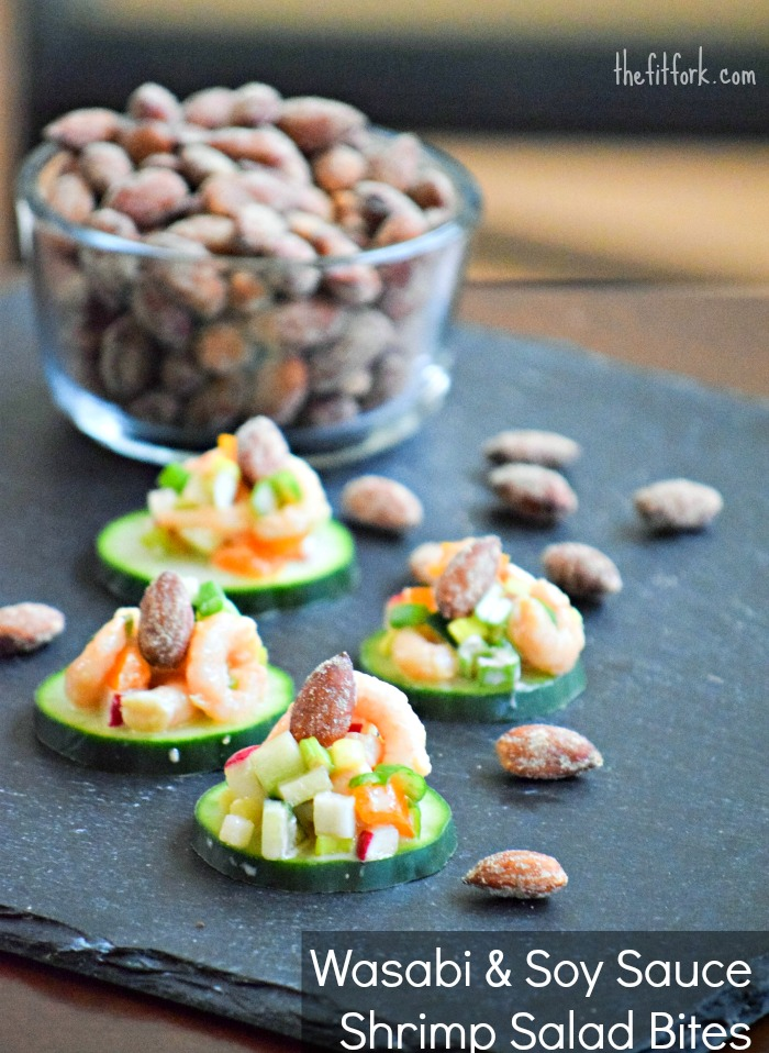Wasabi & Soy Sauce Shrimp Salad Bites with Almonds - TheFitfork.com