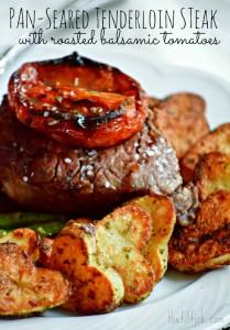 Pan Seared Tenderloin Steak with Roasted Balsamic Tomatoes - TheFitFork.com