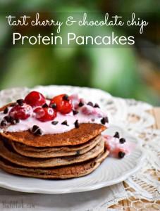 Tart Cherry & Chocolate Chip Protein Pancakes - TheFitFork.com