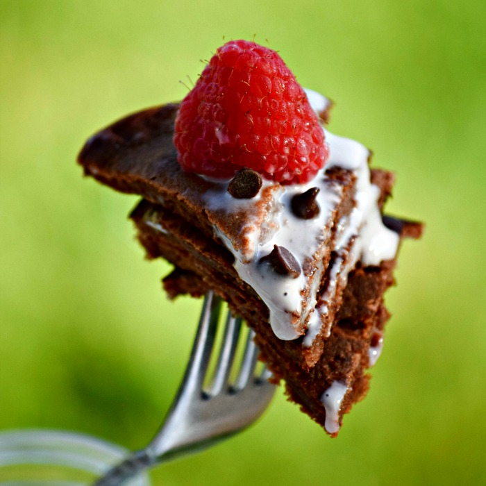 Bite of Chocolate Cheesecake Pancake - TheFitFork.com