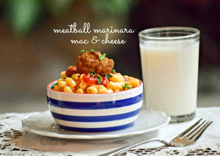 Gluten Free Mac & Cheese with Meatball and Marinara - TheFitFork.com