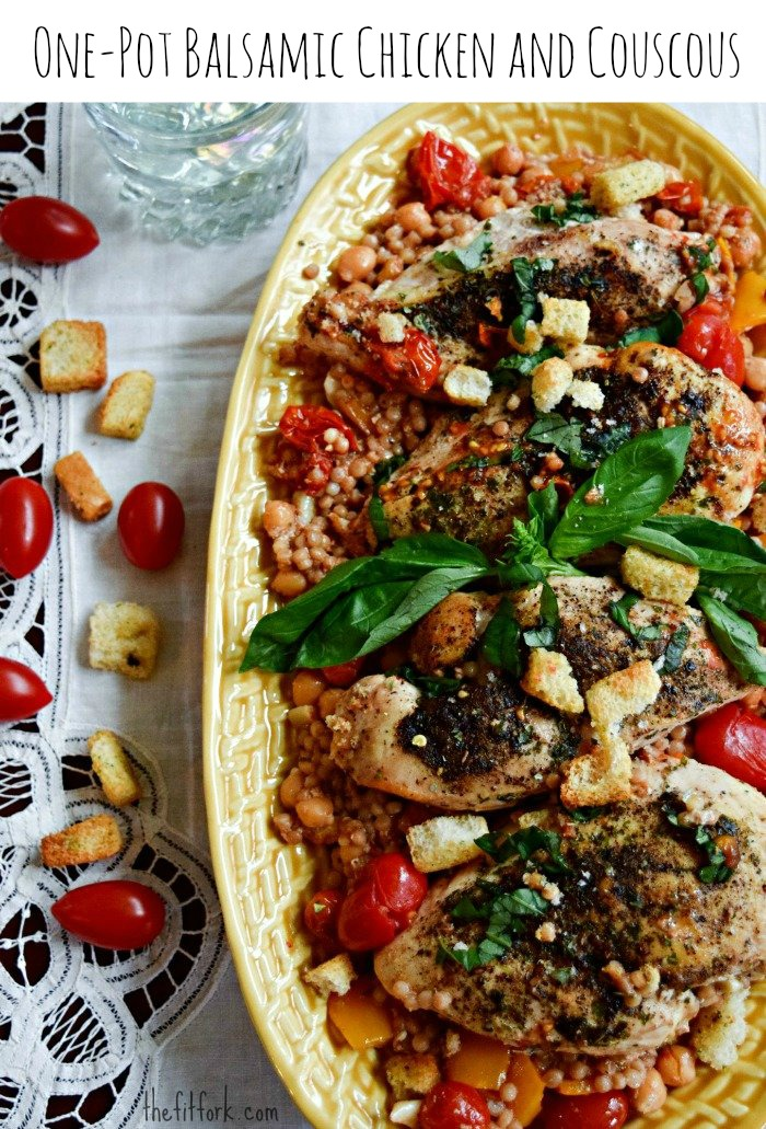 One Pot Balsamic Chicken and Couscous - TheFitFork.com