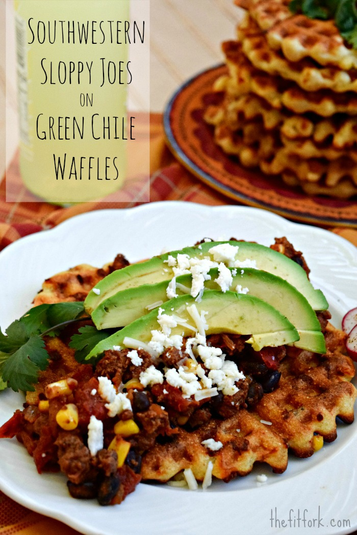 Southwestern Sloppy Joe on Green Chili Cornbread Waffle - title - TheFitFork.com