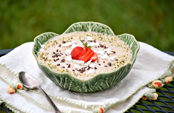 Coconut Chai Smoothie Bowl makes a healthy breakfast or dessert  dressed up with cacao nibs, hemp seeds and strawberries.