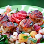 Scallops dusted with cumin and quickly pan seared make a quick and healthy dinner -- especially atop Strawberry, Jicama and Jalapeno Confetti Salad