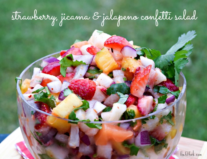 Strawberry, Jicama and Jalapeno Confetti Salad is so colorful and healthy!