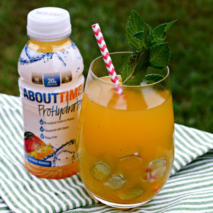 ProHydrate from About Time is a Stevia-sweetened  sports drink with 20g protein and 95 calories.