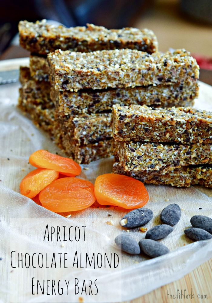 Apricot Chocolate Almond Energy Bars are a great take along for your next hike or trail run.
