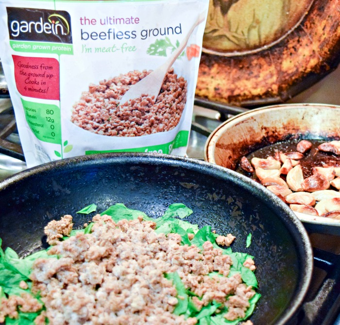 Prepping a meatless dinner is super convenient with Gardein Beefless Ground.