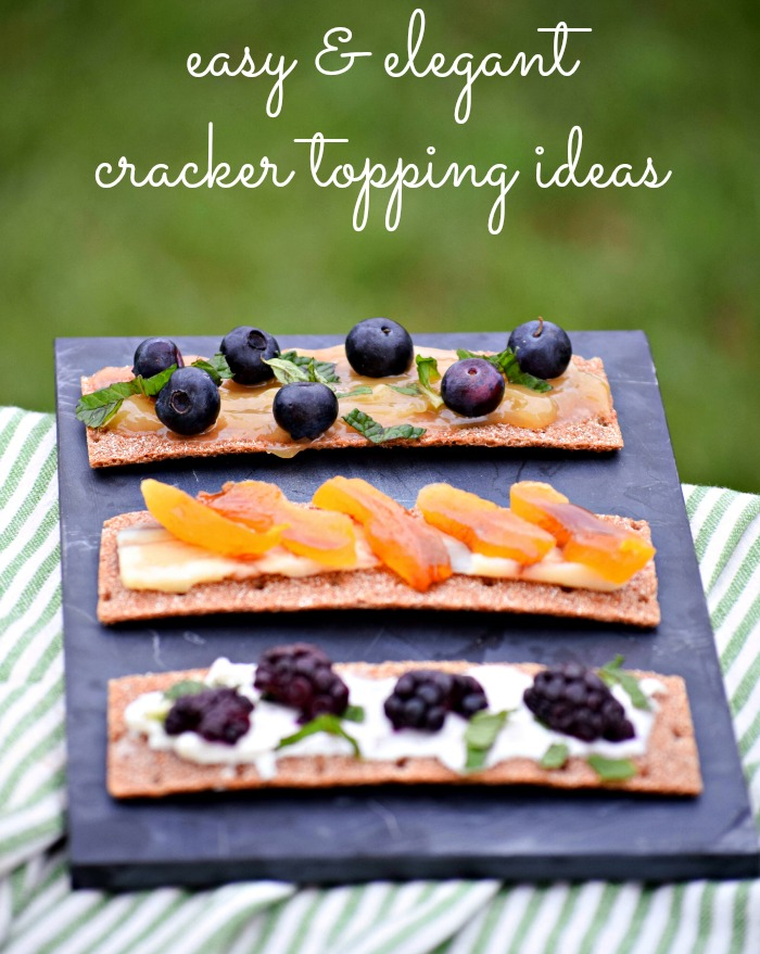 Easy Appetizer -- Crackers with spread and fruit toppings.