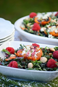 Grilled Apricot Kale Salad is a showstopper for all your spring and summer and entertaining.