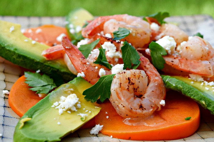 Persimmon Avocado Salad with Shrimp