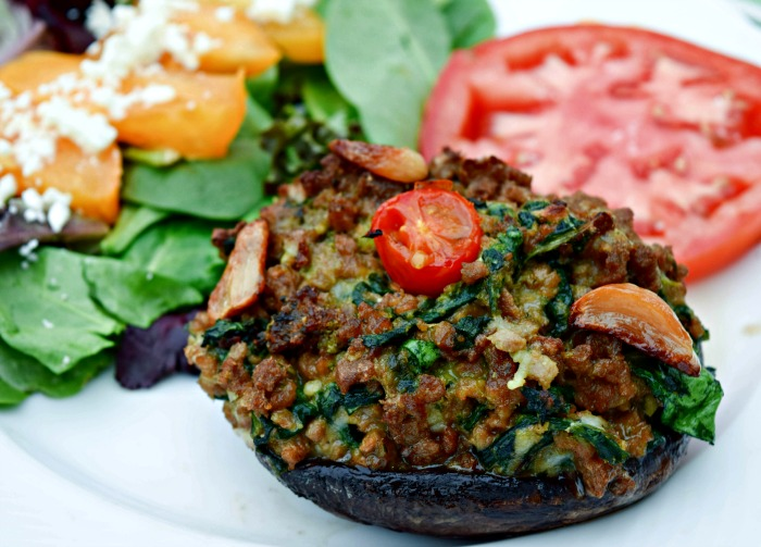 Pesto, Spinach and Roast Garlic Stuffed Mushrooms are made with Beefless Ground and makes a satisfying vegetarian or vegan dinner.