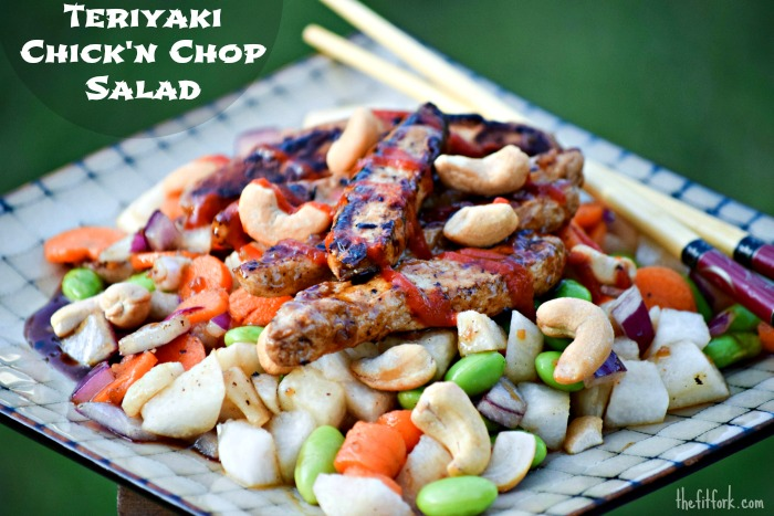 Teriyaki Chick'n Chop Salad is a fit, fast and flavorful meal that takes 10 minutes to make and fills you up with healthy plant-proteins.