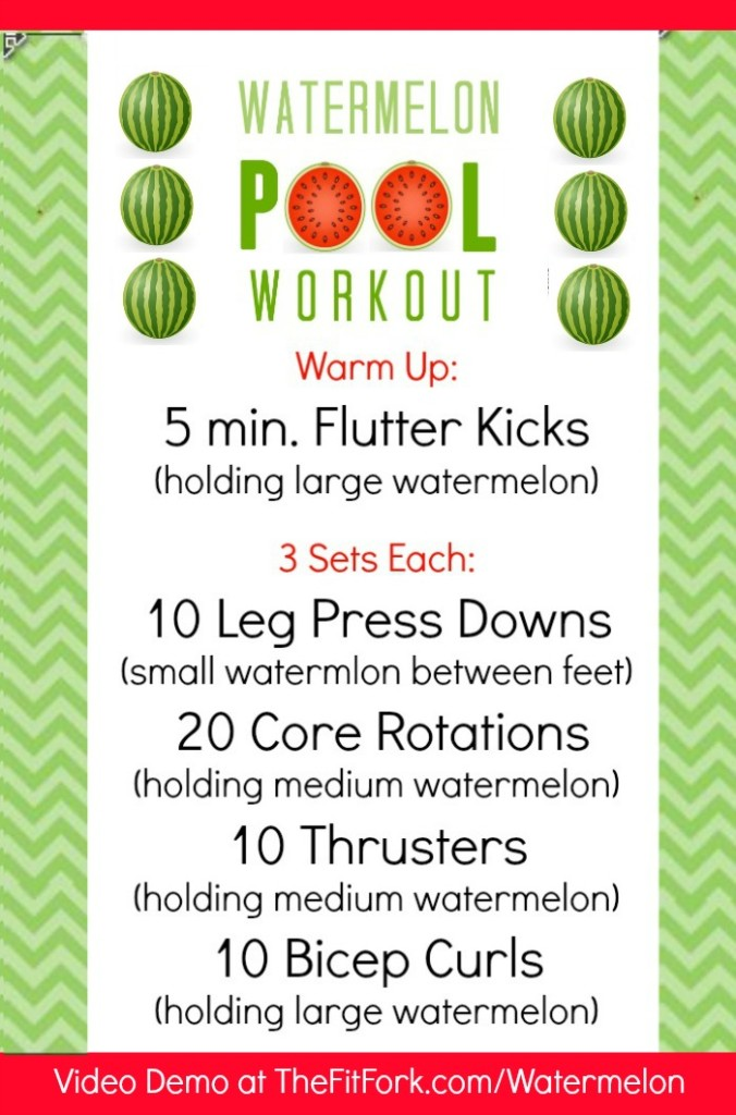 Watermelon Pool Workout #LivingOnTheWedge - TheFitFork.com