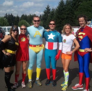 Just hanging out with the superheroes at Hood to Coast Relay.