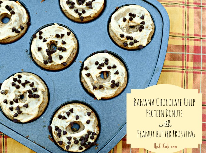 Banana Chocolate Chip Protein Donuts with Peanut Butter Frosting are a great choice for breakfast, post-workout or a bedtime snack!
