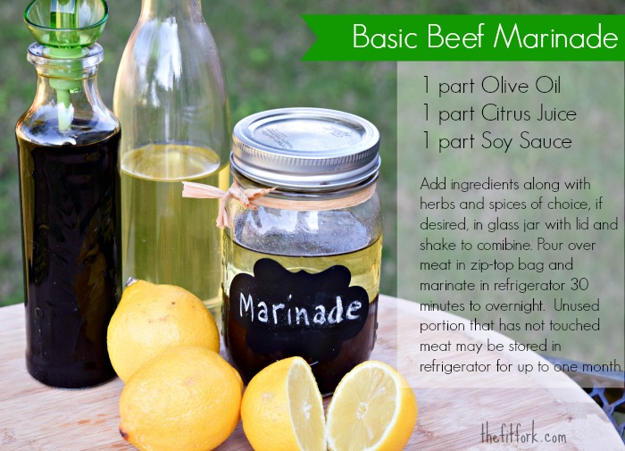 This basic beef marinade uses 1/4 acidic juice, 1/3 oil and 1/3 fermented sauce to create a base recipe that can be customized with herbs, spices and other flavorful ingredients.