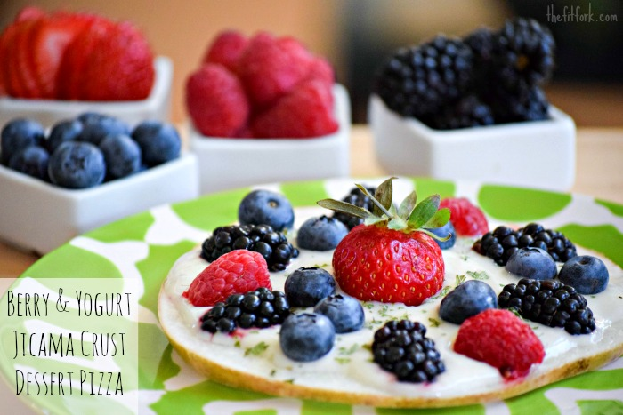 Berry and Yogurt Jicama Crust Pizza makes a healthy choice for your summer dessert!