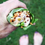 Chicken Lentil and Veggie Collard Green Wraps with Sriracha Ranch