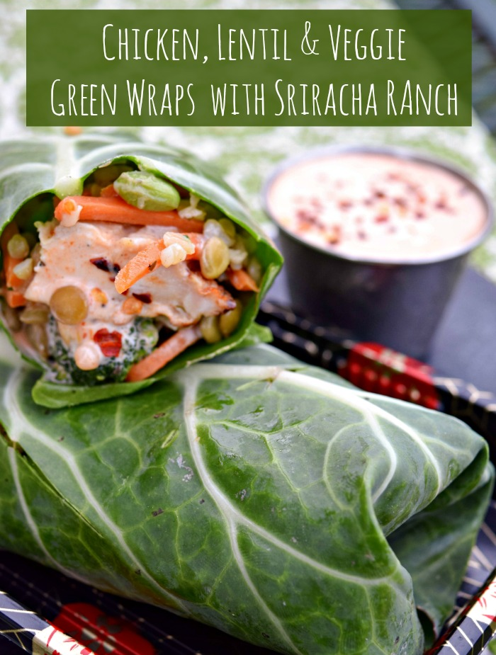 Chicken Lentil and Veggie  Green Wraps with Sriracha Ranch Dressing makes a quick and healthy summer lunch or dinner that uses the microwave!